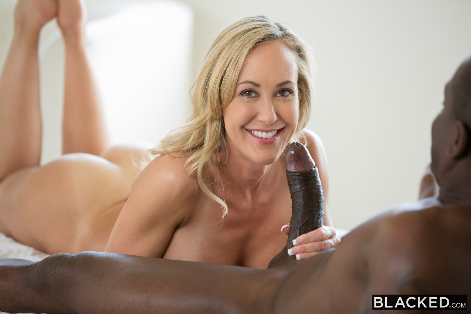 Blonde takes on a quadrant of cock